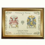 Coat of Arms A4 WEDDING Framed Print PERSONALISED, ref FCWGF